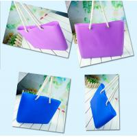 China Silicone beachs bag with cotton rope / silicone shopping beach bags /beach shoulder bags wholesale