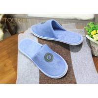 China Custom Cotton Terry Cloth Disposable Hotel Slippers EVA Sole With Printing Logo wholesale