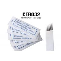 China Single Use Disposable Microblading Needles , 14 Pin White Color Curved Blade wholesale