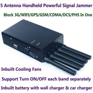 China 5 Antenna Handheld Cell Phone 3G WIFI GPS GSM CDMA DCS PHS Signal Jammer 20M Shield Radius wholesale