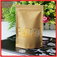 China Food Grade Customized Paper Bags Kraft Paper With  Window For Beans / Rice wholesale