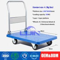 China Four wheel Platform Hand Trolley / steel constructed folding hand cart wholesale