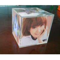 China Clear perspex photo frame acrylic cube photo displays enviromental wholesale