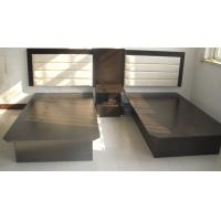 China Black Hotel Style Bedroom Furniture , Inn Furniture Double Beds With Headboard wholesale