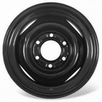 China Steel Wheel with Black Powder, Ø15 x 6 Inches Wide Rim and 6 on 5-1/2 Inches Bolt Pattern wholesale
