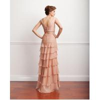 Quality Albizia Pink A-line V-neck Handmade Flower Pleated Layered Prom Dresses for sale