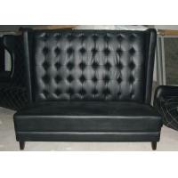 China Contemporary Black Leather Restaurant Booth Furniture , Wooden Restaurant Booths wholesale