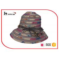 China Bucket Style Wide Brimmed Straw Hat With Nylon Rope Decoration Band wholesale