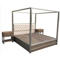 China Metal Frame Queen Bedroom Furniture Sets King Bed With Light Oak Wood wholesale