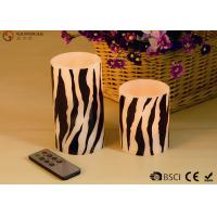 China Sets of  Two Flameless LED Zebra Striped Wax Candles With Remote Control wholesale