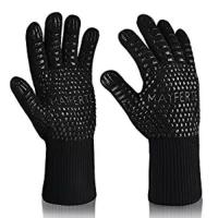 China Custom Logo Black Aramid Barbeque Oven Mitts, OEM 932F Extreme Heat Resistant BBQ Grill Gloves For Kitchen Cooking wholesale