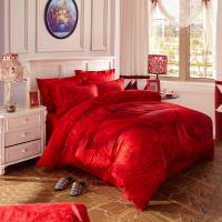China Red Bridal Polyester Bed Sheet Cover Sets With Embroidery Flower Queen Size wholesale