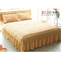 China White King Size Bed Skirts 18 Inch Drop Polyester Material BS-006 wholesale
