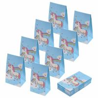 China Blue Color 100gsm Craft Printed Paper Bags Unicorn Design CE / SGS Approval on sale
