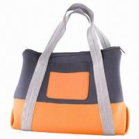China Huge Shoulder Beach Bag, Made of Neoprene, with Gray Color Nylon Handles wholesale