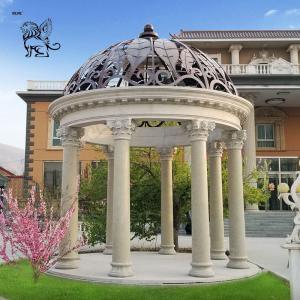 China Large Marble Gazebo Roman Column Pavilion Natural Stone Hand Carved Decorative Outdoor wholesale