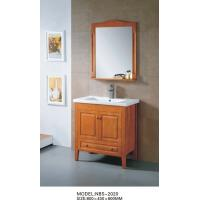 China Light brown wood bathroom vanity cabinets , waterproof bathroom basin cabinets wholesale