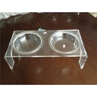 China Luxury Clear Acrylic Pet Bowl Stand With Two Bowls For Dog / Cat wholesale