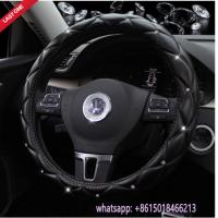 Buy cheap factory offer L size beautiful black leather diamond car steering wheel cover from wholesalers