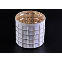 China Mercury Electroplated White Sprayed Glass Candle Jars , Square Pattern wholesale