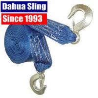 China Custom Polyester Recovery Towing Straps Rope With Metal Hook , 50mm Width wholesale