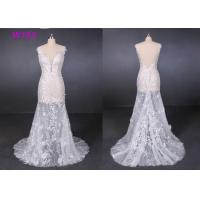 Quality Perspective Lace Female Wedding Dress Slim Sexy Small Tail Brides Wears for sale