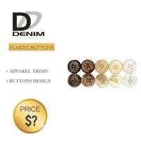China Plastic Shiny Pearl Denim Shirt Buttons White / Black Color With 4 Holes on sale