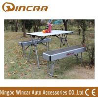 China Heavy Duty Aluminum Expandable Portable Camping Table With Bench wholesale