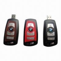 China Car/Key-shaped USB Flash Drives with Genuine Leather, Various Leather Colors are Available wholesale