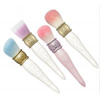 China Flat Hair Makeup Foundation Brush Embossing Wood Handle , Blush Powder Brush wholesale