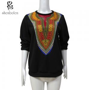 China Womens / Ladies Patchwork Sweater Fleece African Print Tops Long Sleeve Wax Printed wholesale