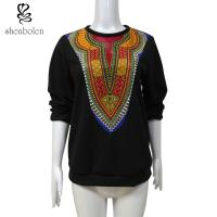 China Womens / Ladies Patchwork Sweater Fleece African Print Tops Long Sleeve Wax Printed wholesale