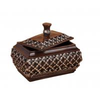 China Treasure Chest Purplish Red  Resin Trinket Box Carved Floral Motifs On Top wholesale