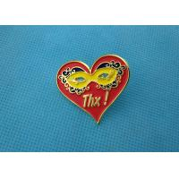 China Personalised Die Casting Soft Enamel Pin , Gold Epoxy Pin Badge Heart Shaped wholesale