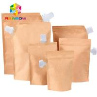 China Stand up oblique spout kraft paper lined foil spout pouch packaging for water / oil wholesale