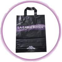 Customized PP Ribbon Soft Loop Handle Bag With Square Bottom For Shopping