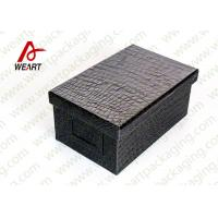 China Black Leather Coated  Branded Products Cardboard Gift Boxes With Lids OEM wholesale