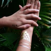 Gold foil temporary tattoos of temporaryjeweltattoo for Gold foil tattoo
