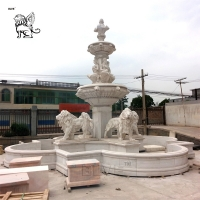 China Marble Lion Water Fountain Statue Large Garden Fountain Outdoor Decoration wholesale