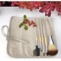 China 5 Pcs Professional Cosmetic Brush Set , Complete Makeup Brush Set Linan Bag Bamboo Handle wholesale