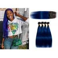 China 1B / Blue Color Brazilian Virgin Human Hair Straight 3 Bundles With Closure wholesale