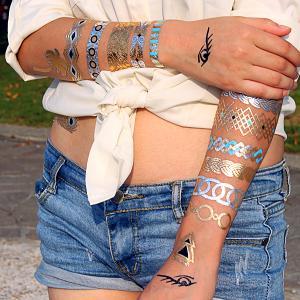 China Customized Temporary Tattoo Sticker Metallic Flash Tattoo wholesale