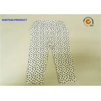 China Eco Friendly Cute Baby Girl Leggings Blue Dots With Elastic Waistband wholesale