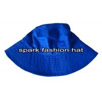 China 100% cotton blue bucket cap with wide brim for summer wholesale