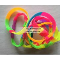 China New style rainbow Twist Silicone Rubber Bracelets,Silicone Braided bracelet,Silicone CHAIN Wristbands wholesale