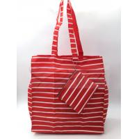 China Red Stripe Polyester Reusable Shopping Bags With Pouch OEM / ODM Available on sale