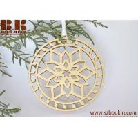 China Wooden Christmas ornament woodcut tree decoration Snowflake ornament on sale