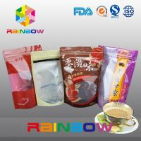China Plastic Bottom Gusset Bags / Stand Up Bag With Ziplock And Window For Ground Coffee Bean wholesale
