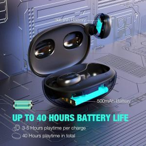 China Wireless Earbuds Bluetooth 5.0 Headphones Deep Bass 3D Stero Sound Mini Headsets 40H Total Playtime with Charging Case wholesale