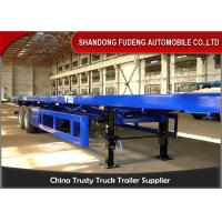 China 2 axle Flat bed Container Semi Truck Trailer with twist lock air bag suspension on sale